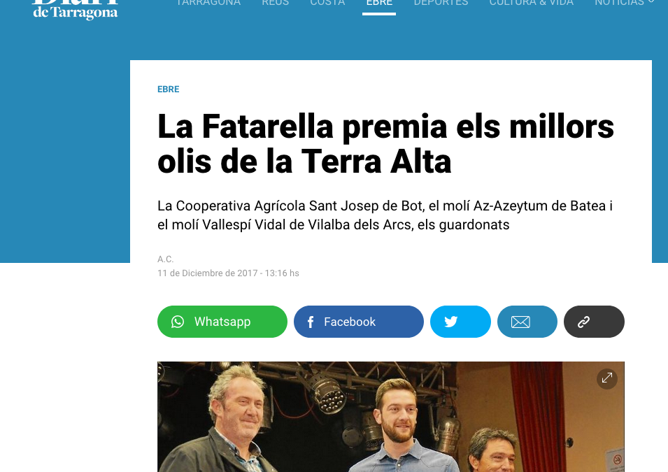 Our Empeltre olive oil was featured in Diaridetarragona.com